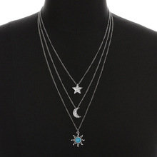 1 PC Fashion Retro Vintage Silver Plated Star/Sun/Moon Pendant Multi-layer Alloy Three Long Chain Necklace Fashion Jewelry