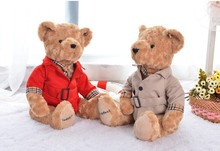 a pair of small cute Teddy bear toys plush red and khaki Dust coat bear toy dolls birthday gift about 22cm(China)