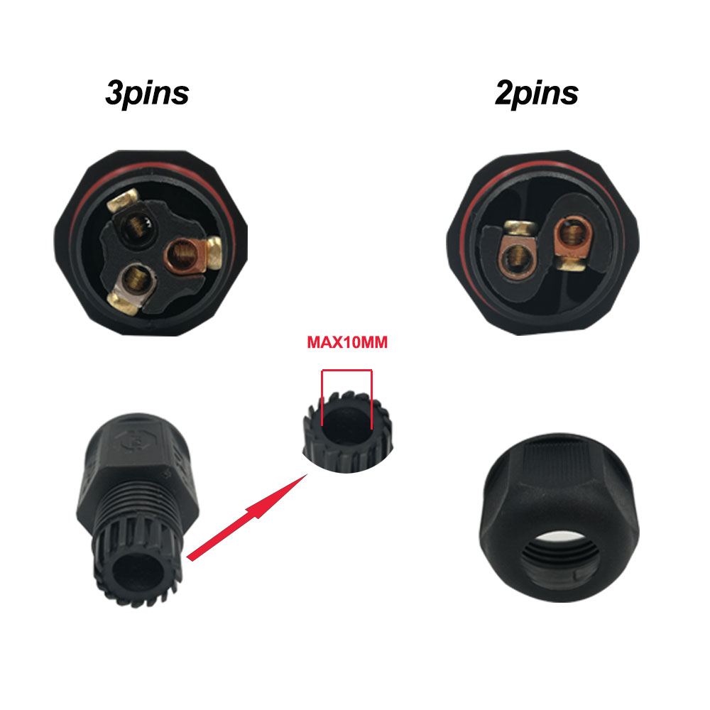 IP67 Waterproof Connector 2 Pin 3 Pin Electrical Terminal Wire Adapter Connector Screw and Soldering Pin connector for LED Light (15)