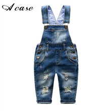 2018 Fashion Brand Kids Jeans Boys Girls Denim Overall Pants Casual Toddler Children Overall Jeans Broken Hole Child Clothes(China)