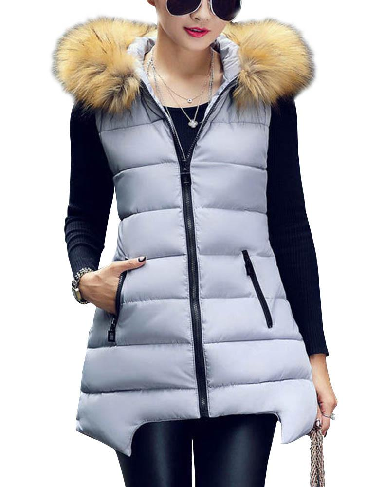2017  Women Winter Vest Waistcoat   Womens Long Vest Sleeveless Jacket Faux Fur Collar Hooded Down Parkas With Real Fur Collor 4Одежда и ак�е��уары<br><br><br>Aliexpress
