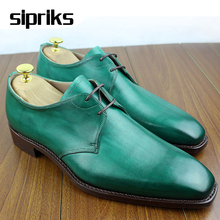 Luxury mens goodyear dress shoes latest green derby shoes hipster male wedding shoes unique mens gents suits shoes square toe