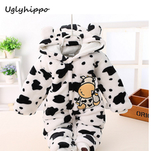 New 2017 Baby Winter Romper cotton-padded Cute Cow Dots One Piece Newborn Baby Girl Warm Jumpsuit baby's wear Climb Clothes BC29(China)