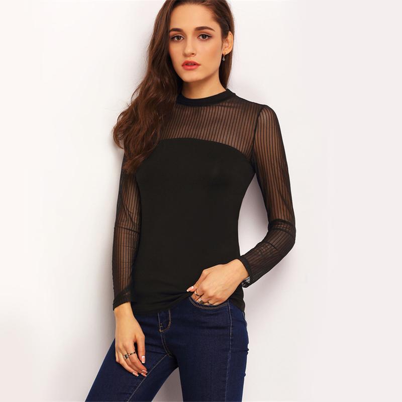 COLROVIE Mock Neck Vertical Mesh Blouse Women Semi Sheer Patchwork Sexy Tops Fall 2017 Fashion Black Basic Elegant Slim Blouse 12