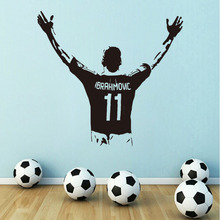 Art design football player cheap vinyl home decoration zlatan back wall sticker removable house decor soccer Ibrahimovic decals