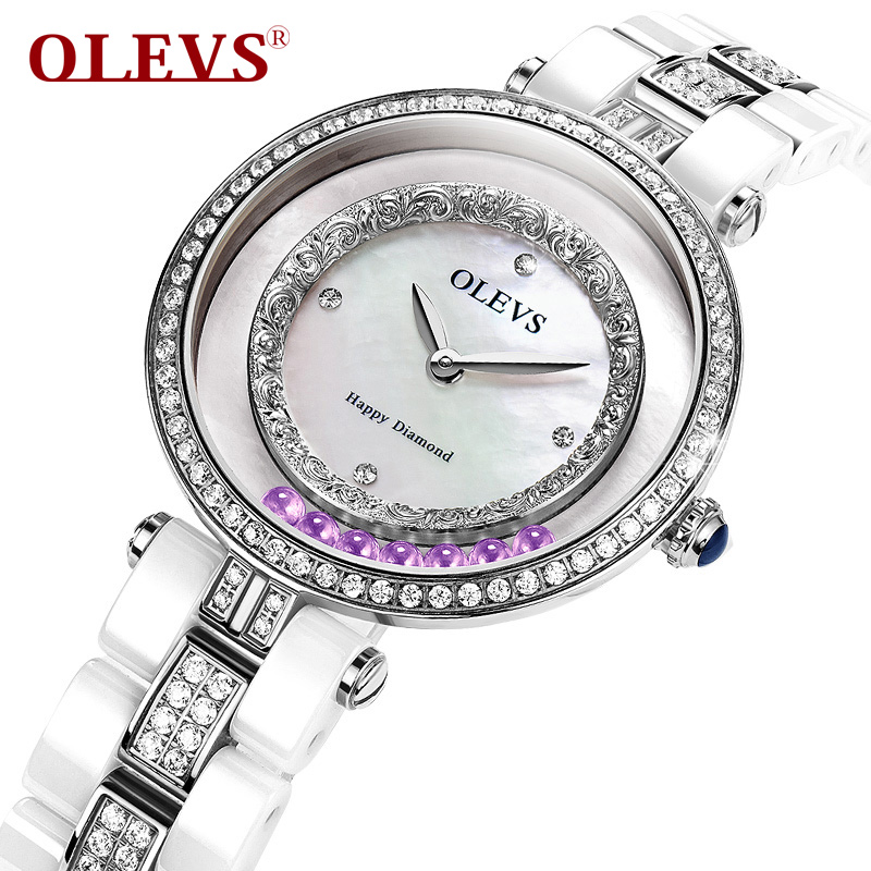 OLEVS Gorgeous Ceramic Quartz Women Watches Sliding Beads Female Wristwatch Shiny Rhinestone Dial Waterproof Ladies Watches L138<br>