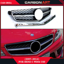 C Class W204 C63 Style Front Grille 2007-2014 Auto Bumper Mesh For Mercedes Benz Replacement Accessories(China)