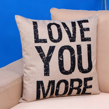 45*45cm High Quality Cute LOVE YOU MORE letters print Throw Pillow Case Cushion Cover Christmas Decor Gift New-45(China)