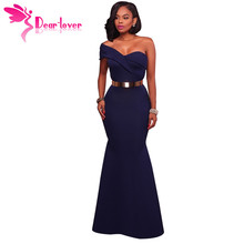Dear Lover Long Dress Party Navy Blue/Red Sexy One Shoulder Maxi Gowns Robe de Soiree Longue 2017 vestido longo de festa LC61774(China)