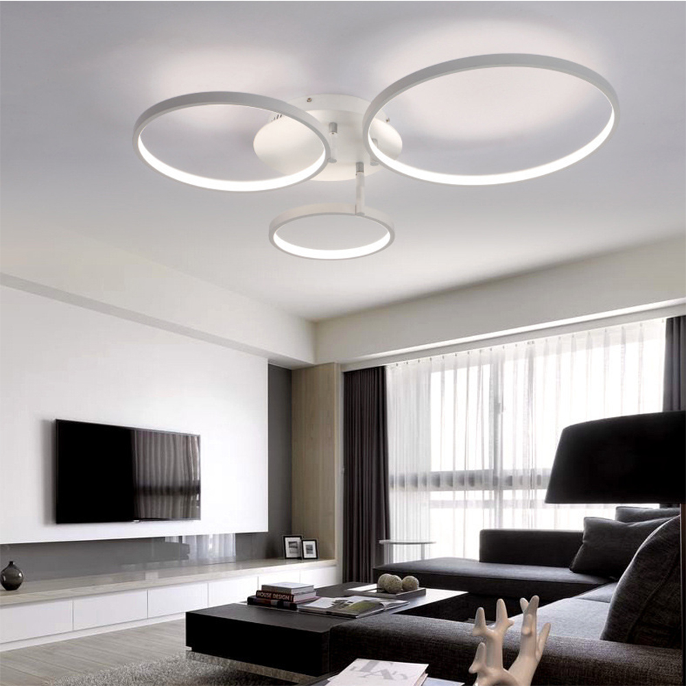 Rings White Finished Chandeliers Led Circle Modern Chandelier Lights ...