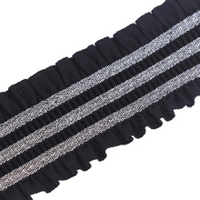 3yards Black Silver Stretch Elastic Lace Ribbon Trim Webbing Tape Band Trimming Clothes Decorated Sewing Accessories T1965