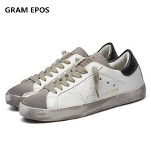 GRAM EPOS Designer Golden pu leather Casual Men trainers Sport Star dirty do old Shoes Footwear Zapatillas basket femme(China)