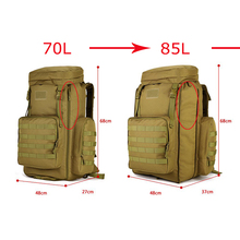 Adjustable Capacity Outdoor Bag Military Tactical Waterproof Molle Backpack Hiking Camping Trekking Gym Bags 70-85L