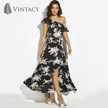 Vintacy Long Dress Black Print Floral One Shoulder Ruffles Summer Beach Dress Women Pleated Elegant Party Long Dress Plus Size(China)