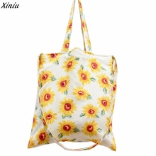 Sunflower Students Shopping Bag Ladies Forest Style Pastoral 2017 Causal Large White Plain Flower Canvas Tote Bags Women