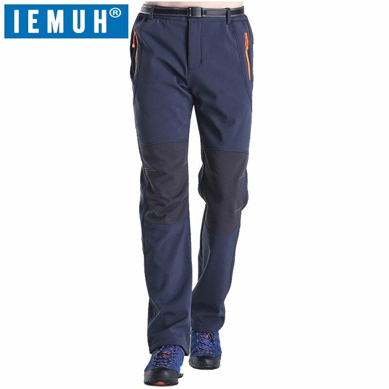 IEMUH Brand Size L-5XL Men Softshell Pants Thermal Waterproof Pants Outdoor Sports Camping Hiking Ski Pants Fleece Outdoor Pants<br>