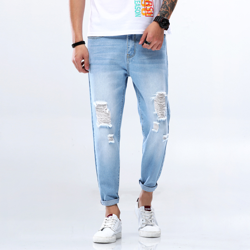 Pencil Jeans Men Pants Cotton Simple Retro Style Cargo Pants Male Jeans Trousers Youth Ankle-Length Fitted Pant Brand Jeans MuLS