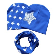 Cotton Baby Hat Scarf Kids Hat Autumn Winter Children Scarf-collar Boys Girls Warm Beanies Star Print Infant Hats Sets