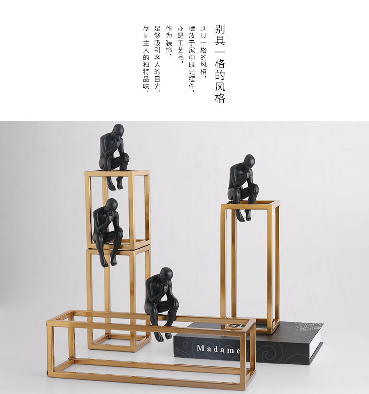 Thinking of Rodin Sculpture Postmodern Thinker Small Black Metal Stainless Steel Frame Home Decoration Room Figure Adornment 9