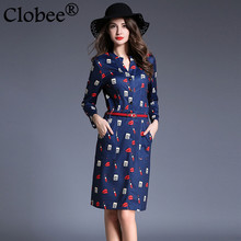 Clobee 2017 Spring Summer Women Long Sleeve Midi Tunic ethnic Party Dresses Sexy Office Print Shirt Dress Plus Size Vestidos Y63(China)