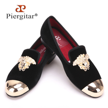 Fashion Handmade Medusa Top and Metal Toe Men Velvet Dress shoes Men Luxurious Prom and Banquet Loafers Plus Size Men's Flats(China)