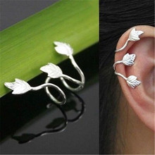 FD4151 new Women Silver Plated Stud Leaf Design Earring Cuff Wrap Clip Ear Gift 1pc