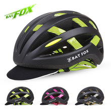 BATFOX Pro Men Women Bicycle Helmet with USB Charging Warning Light Cycling Helmet Bicycle Road Mountain Bike Racing SafelyCap