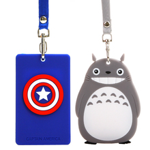 Character Silicone card holder for Student Captain America portable cute cartoon String Metro ID bus Identity badge with lanyard