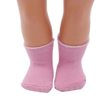 18 Inch Doll Socks 1 Pair Fits Girl Doll Clothes & More, Pink Color Sock Baby Born Doll(China)