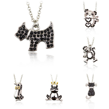 Black Crystal Rhinestone Pendnat Silver Color Chain Dog Penguin Frog Cat Monkey Panda Necklace Men Women Cute Animal Jewelry(China)