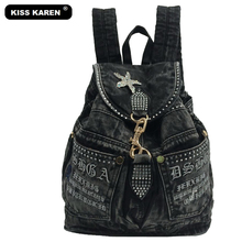 KISS KAREN Fashion Appliques Women Backpack Jeans Women's Backpacks Denim Travel Bag Lady Backpack Casual Daypacks Black/Blue(China)
