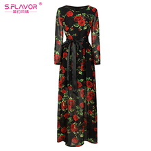 Bohemian style women long dress S.FLAVOR rose printing O-neck long sleeve casual vestidos with belt Autumn fashion chiffon dress(China)