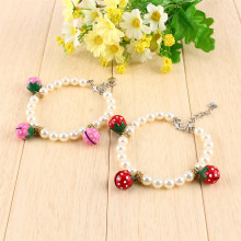 1Pcs Dog Cat Pet Beads Necklace Collar Necklet Pearl Necklaces With 3 Strawberry Bells Red Pink S M L