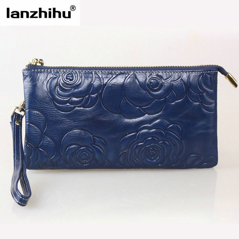2017 Flower 100% Oil Wax Leather Clutch Bag Women Small Card Holder Genuine Leather Women Wallets Long Zipper Coin Purse Phone<br>