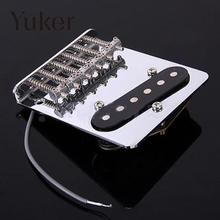 Yuker Guitar Parts Chrome 6 Saddle String Bridge + Pickup for Fender Telecaster Electric Tele Pick up Accessories