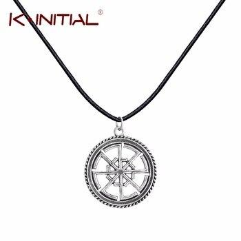 Kinitial 1Pcs Slavic Kolovrat Amulet Pendant PaganSun Talisman Leather Jewelry Necklace & Pendants Religious Amulet Necklaces