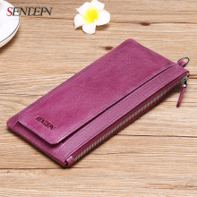 Sendefn Soft Real Genuine Leather Women Wallets Long Lady Purse Wallet Female Card Holder Phone Coin Pocket Wallet Women