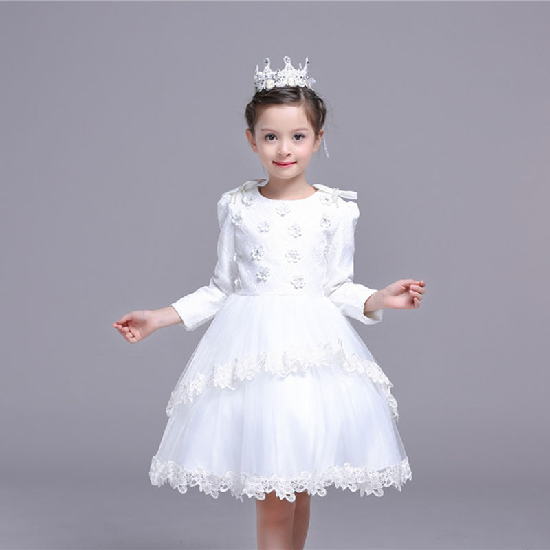 2017 Autumn Kids Party Flower Dress For Girl Princess Birthday Dress Long Sleeve Child Ruched Bow Party Flower Vestido 3-10Y<br>