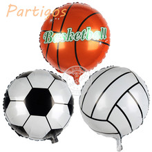 10pcs/lot 18inch Football Foil Balloon Soccer Volleyball basketball Helium Balloons Birthday party decoration Globos kid's toy