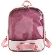 NEW Summer bling Backpacks Harajuku School Backpack Women Leather Double Shoulder Laser Bags Teenage transparent  Book Bags