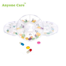Japanese-style Convenience Travel Old Man a Week of Small Pill Case Removed Seven Space Transparent Circular Pillbox(China)