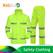 Fluorescent Green Safety Reflector Sliver Raincoat Trousers Garment Set Fashion Breathable Traffic Outdoor Adult Men and Women