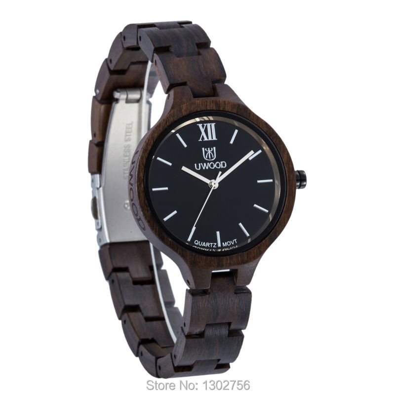 Uwood 2017 Fashion Black Sandal Wooden Quartz Women Wristwatches High Quality Quartz Movement Wood Watch Relojes Best Gift<br><br>Aliexpress