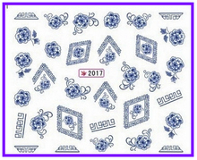 1X Water Transfers Stickers Nail Decals Stickers Water Decal China Blue Flower SY2017(China)