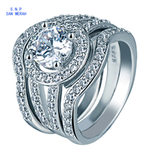 3Pcs/Lot Wedding Rings Set For Men And Women Round CZ Diamond Jewelry White Bague Femme Engagement Finger Rings