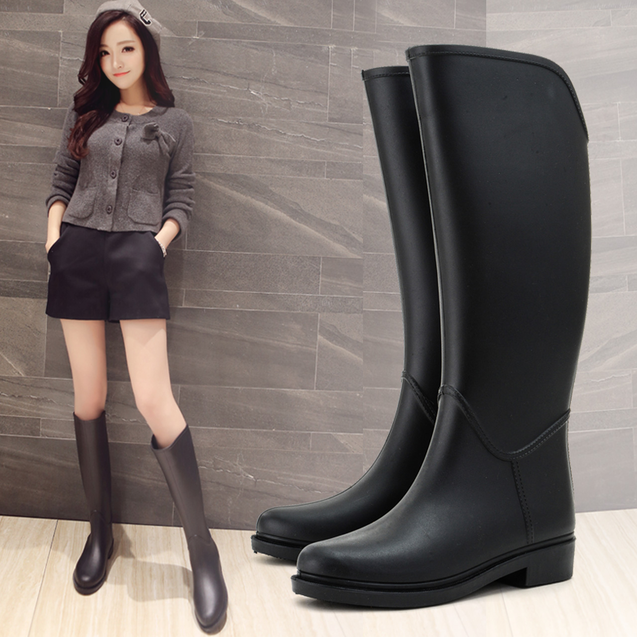 2017 New Fashion Women Knee-High Rain Boots Spring and Autumn Water Shoes Casual Rubber Rain Shoes Boots<br><br>Aliexpress