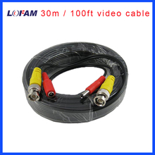 LOFAM 100FT cctv cable 30m BNC Video Power coaxial Cable DC BNC video output cable for cctv Security Camera 100 Feet video cable