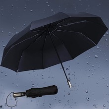 Fully-automatic Three Folding Umbrellas Male Commercial Compact Large Strong Frame Windproof 10Ribs Gentle Black Umbrellas