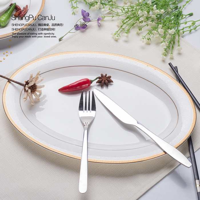 12 Inch Fine Bone China Decorative Plate Gold Band Designed Dinner Charger Plates Porcelain Dinnerware Microwave Safe