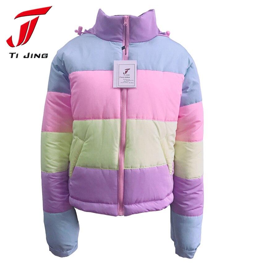cute kawaii lolita sweet vintage 90s lazy oaf macaron rainbow colors warm coat women winter jackets thicken female 2017 N69Îäåæäà è àêñåññóàðû<br><br>